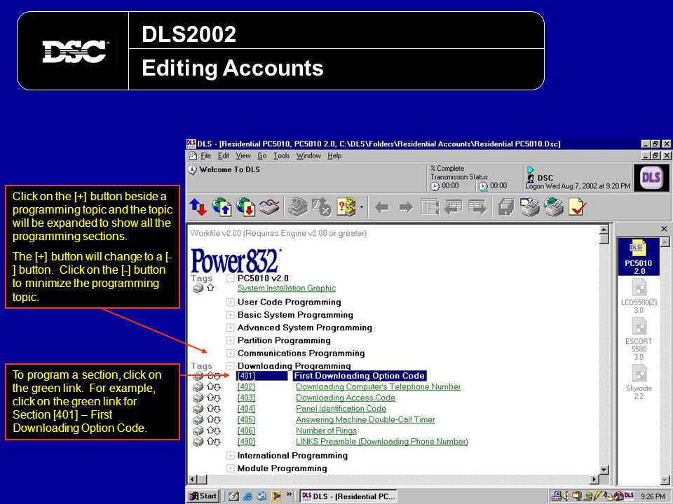 DLS2002 Editing Accounts. Click on the [+] button beside a programming topic and the topic will be expanded to show all the programming sections.